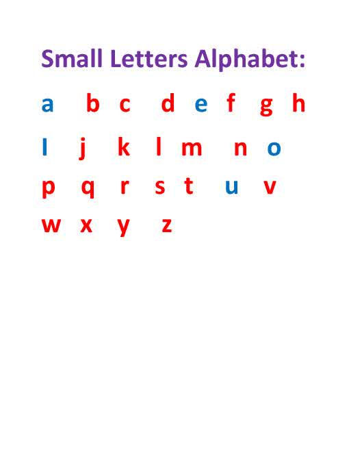Small Alphabet Letters A Z 001