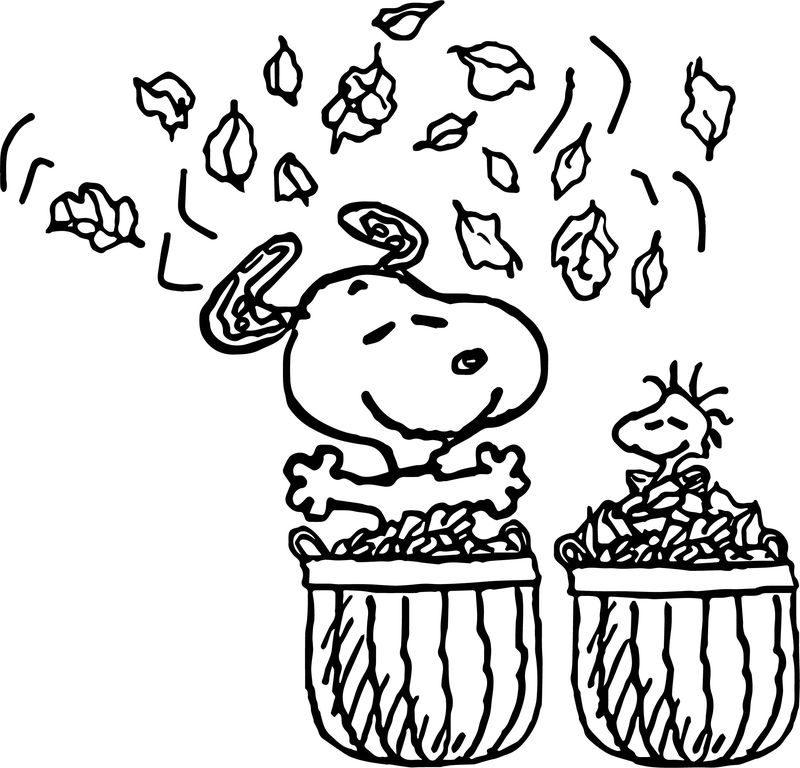 Snoopy Fall Leaves Coloring Page