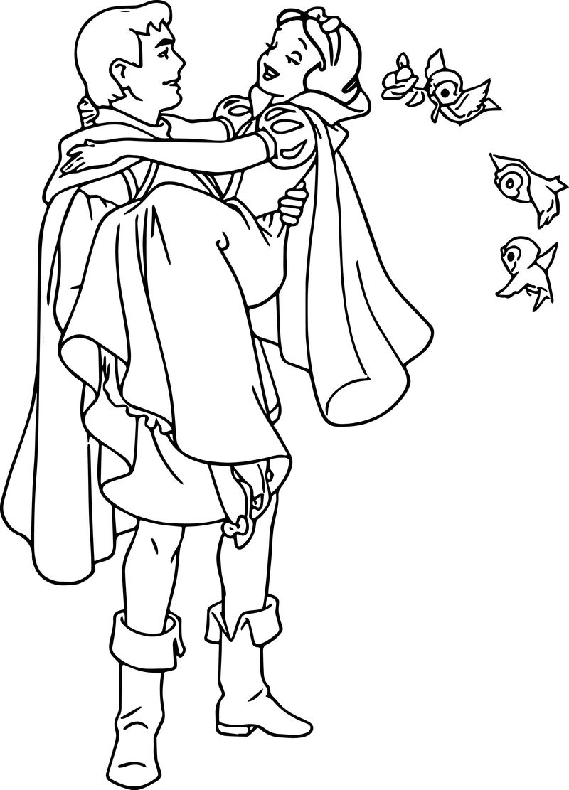 Snow White And The Prince Birds Coloring Page