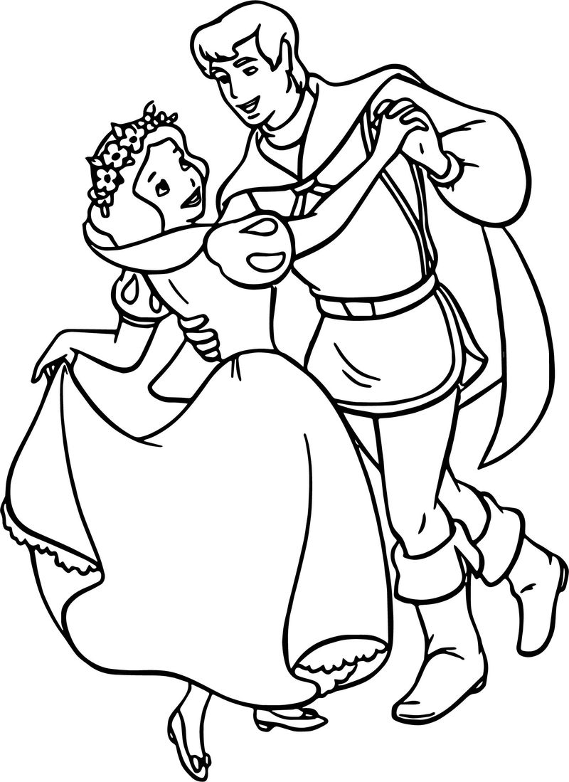Snow White And The Prince Dance Coloring Page