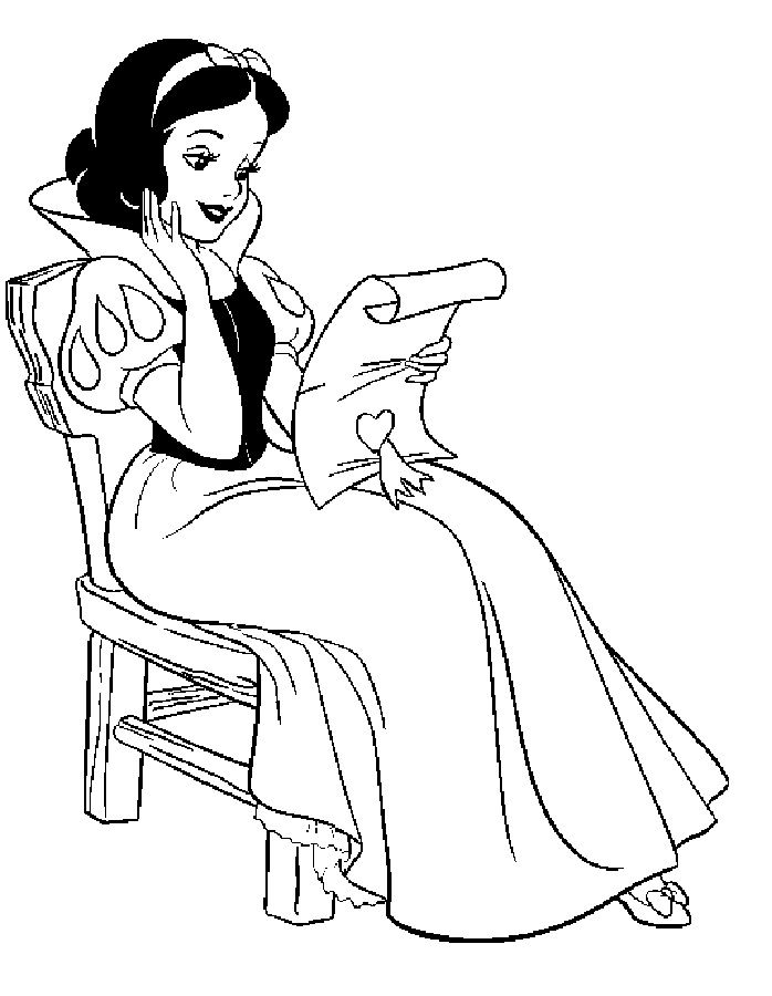Snow White Color Pages Reading