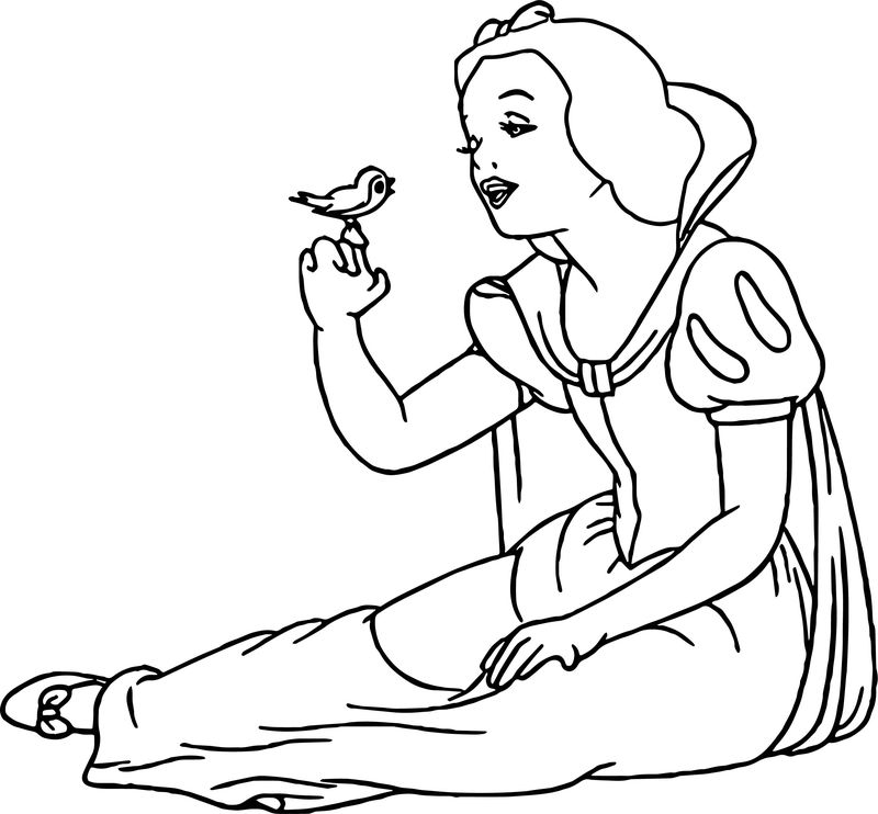 Snow White Talking Bird Coloring Page