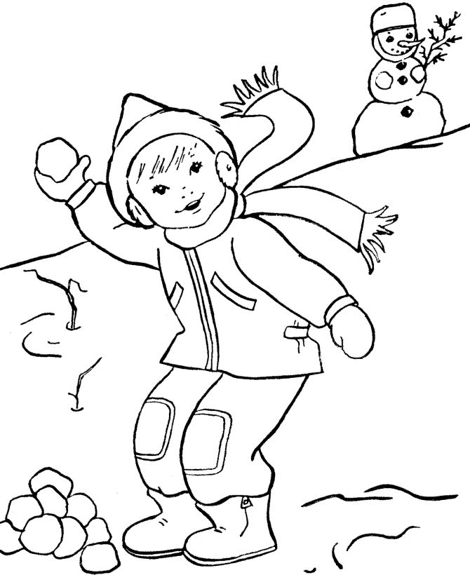 Snowball Fight In Winter Coloring Page