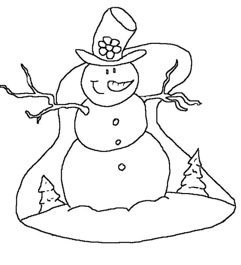 Snowman Coloring Pages Kids
