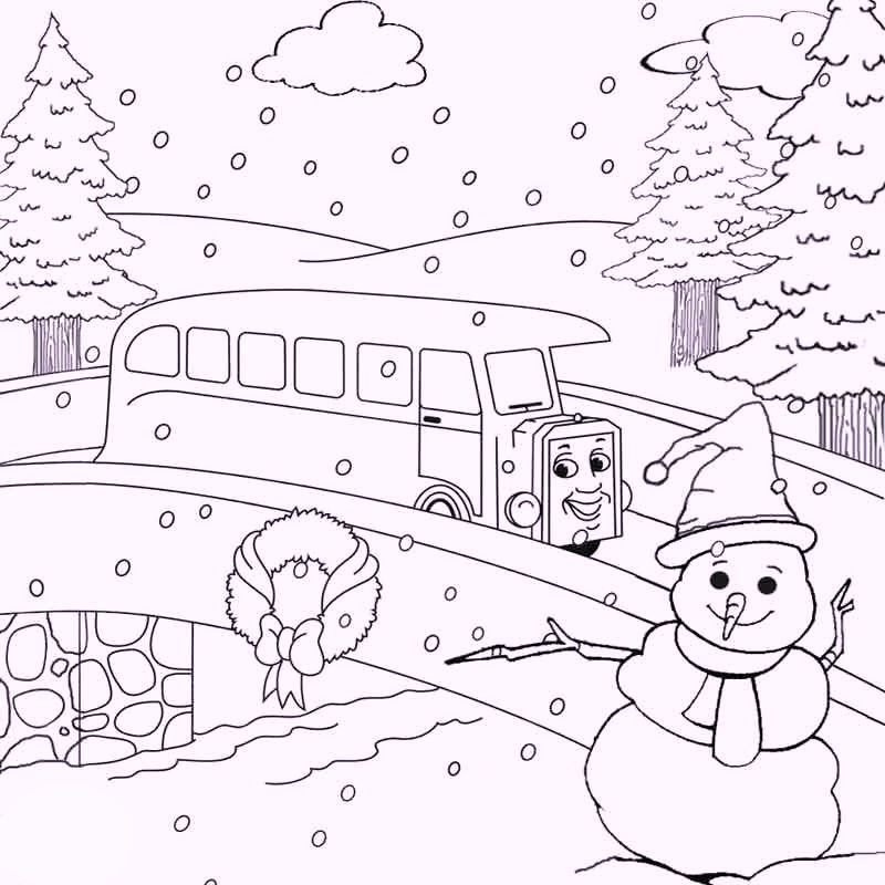 Snowman And Train Winter Games Coloring Pages