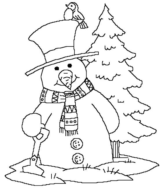 Snowman In Winter Coloring Pages 1