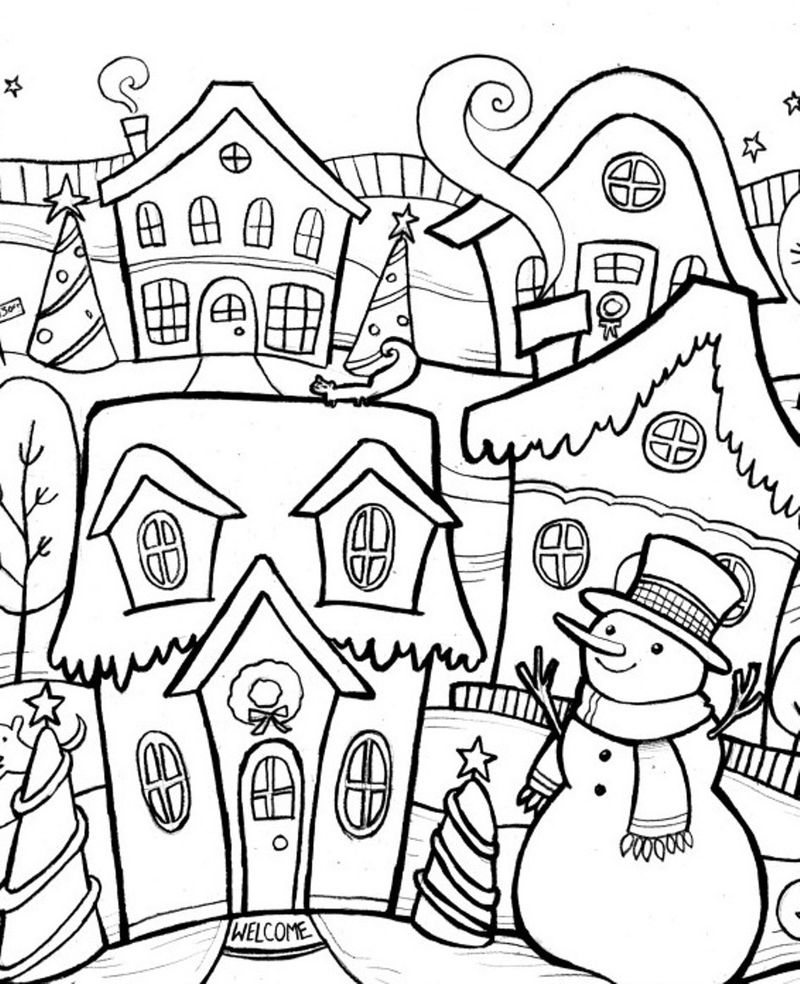 Snowman In Winter Town Scene Coloring Page