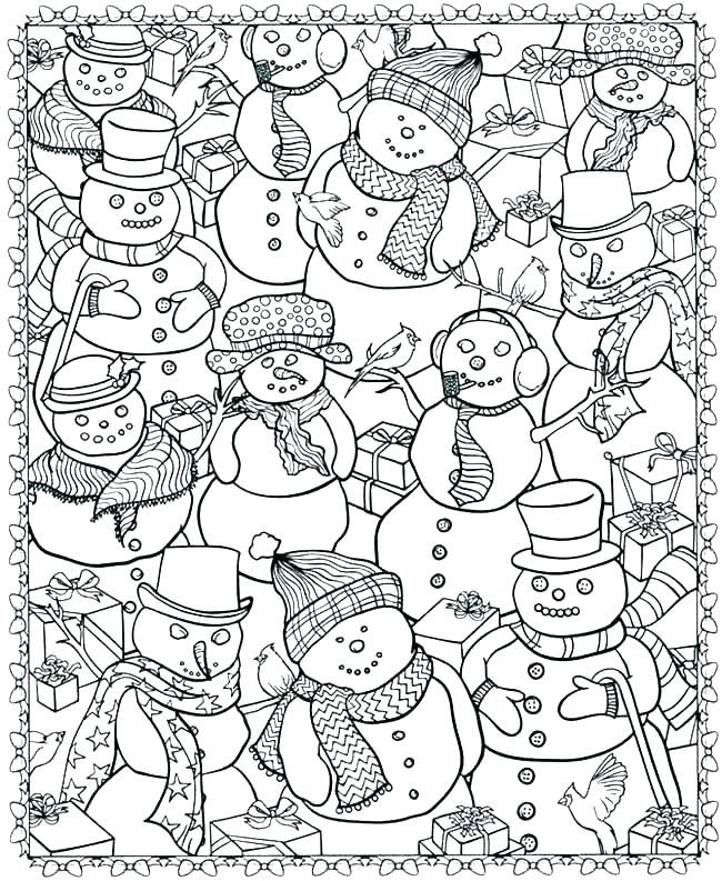 Snowman winter design coloring page