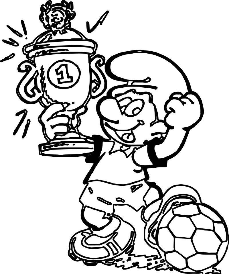 Soccer Player Sport Smurf Coloring Page