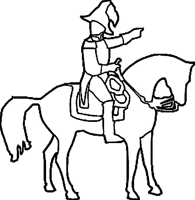 Soldier Horse Outline Coloring Page