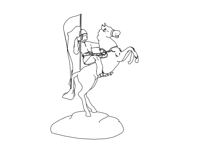 Soldier Ride Horse Coloring Page