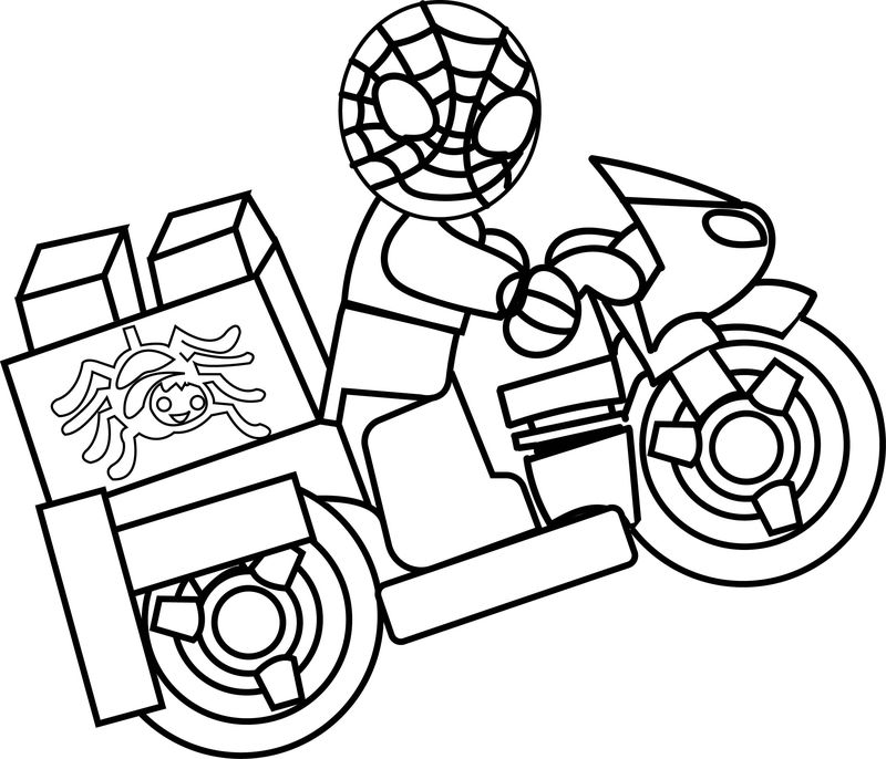 Spider Man Lego Driving Bike Coloring Page