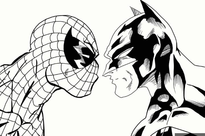 Spiderman And Batman Coloring Page Pagestocoloring