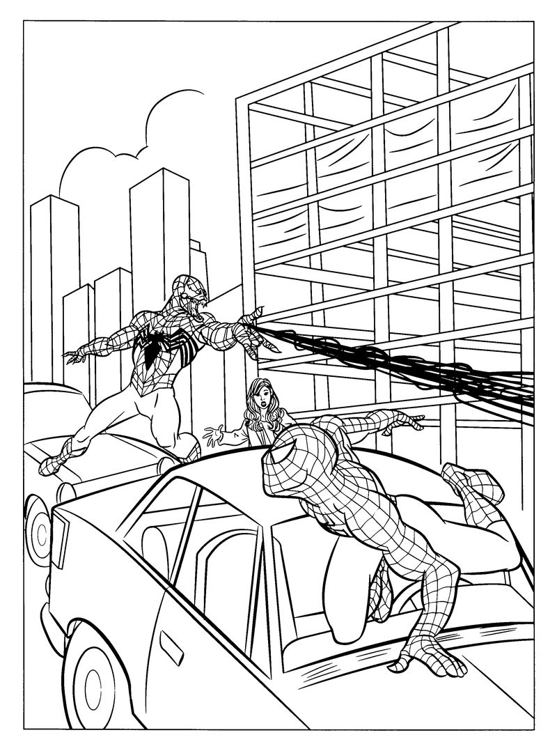 Spiderman And Venom Coloring Pages 001