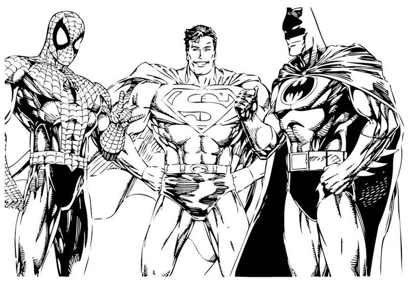Spiderman Batman Superman Coloring Pages 001