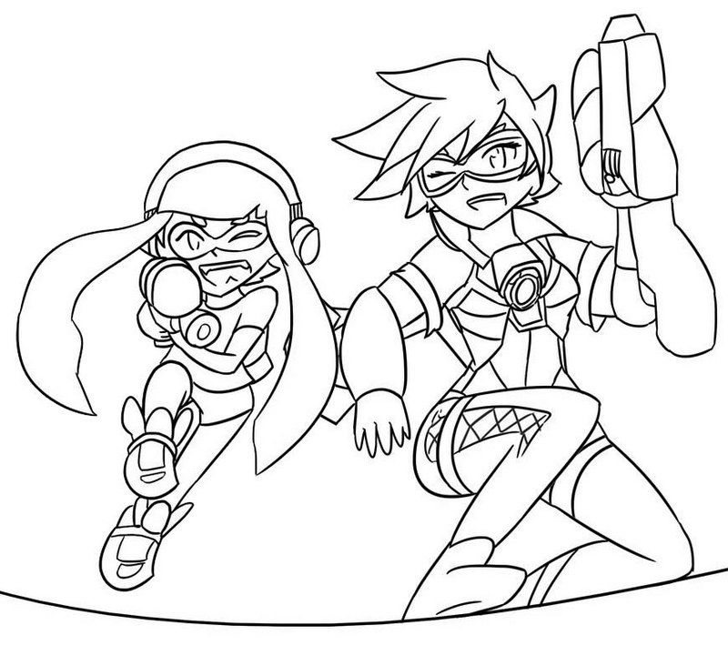 Splatoon And Overwatch Tracer Coloring Page