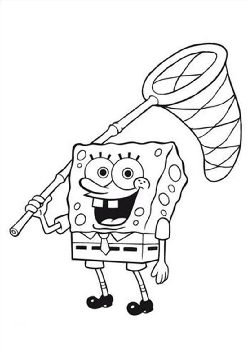 Spongebob jellyfish net coloring pages