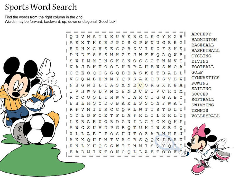 Sport Word Searches Disney