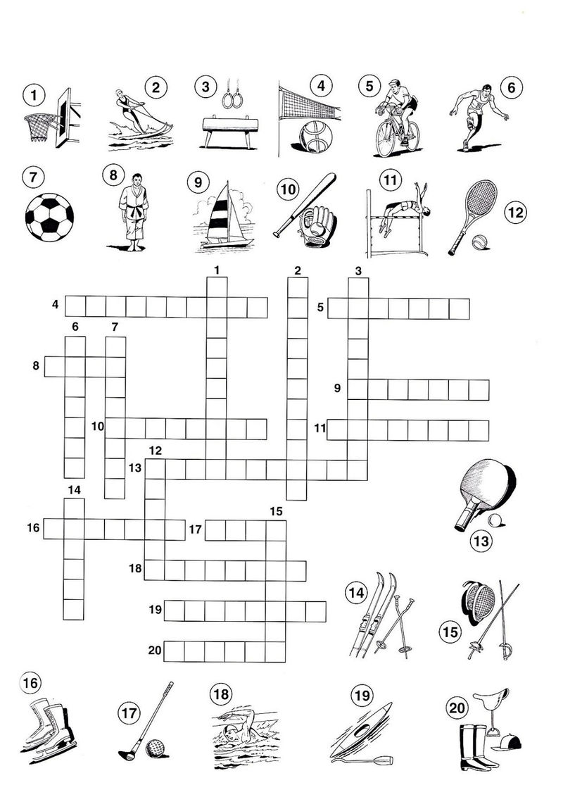 Sports Crossword Puzzles For Kids Picture 001