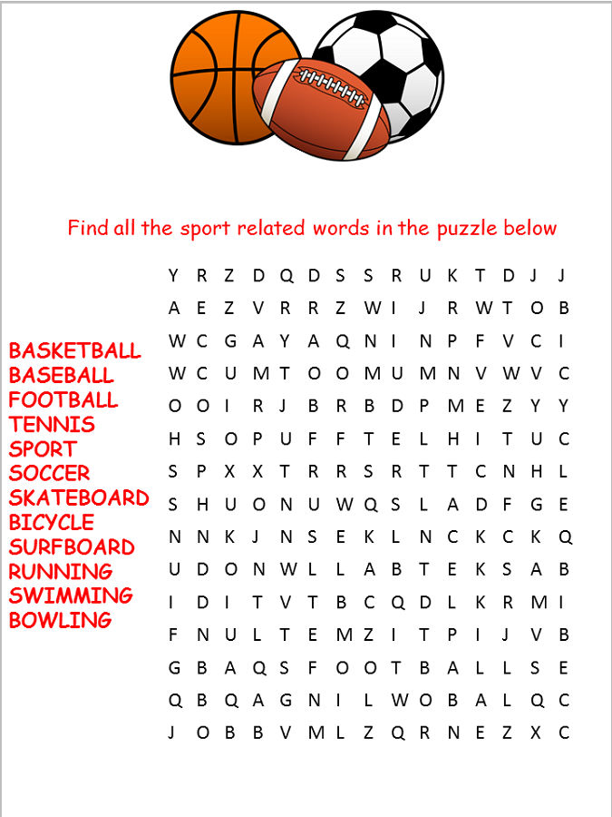 Sports Word Search Worksheet