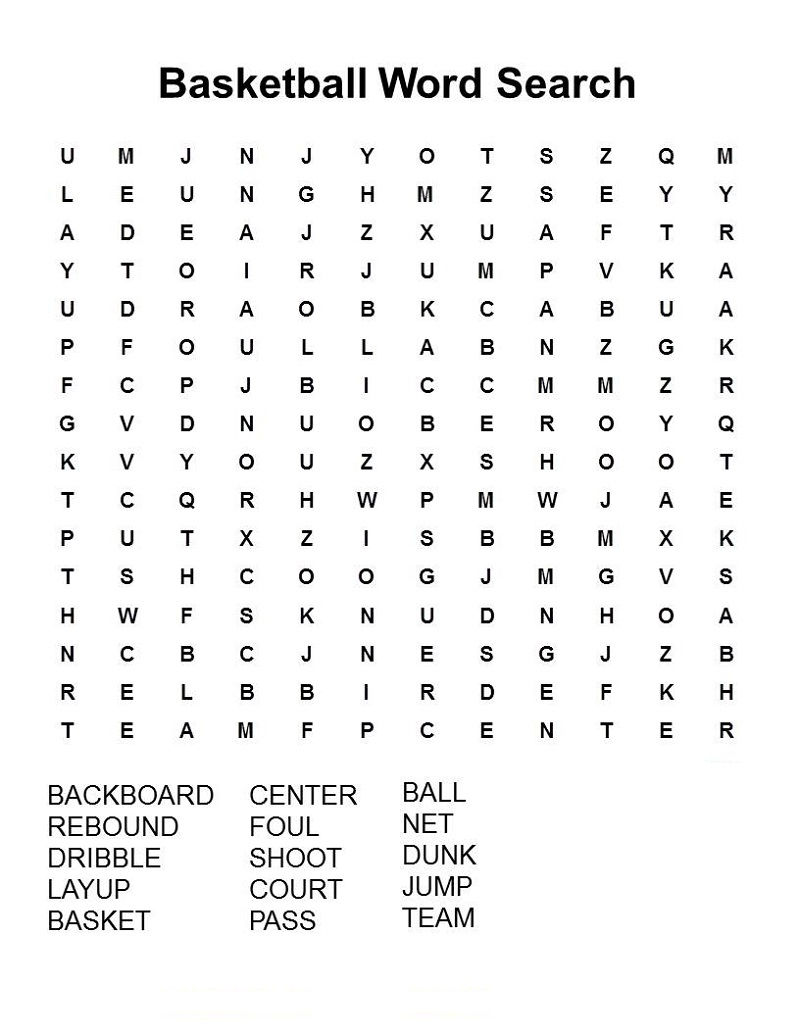 Sports Word Searches Basketball