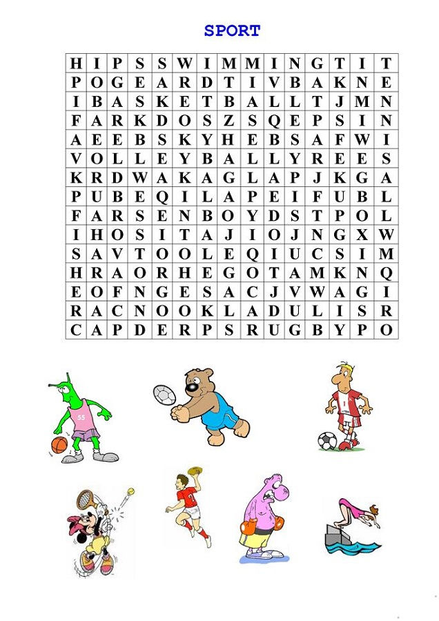Sports Word Searches Puzzle