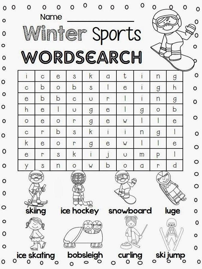 Sports Word Searches Winter