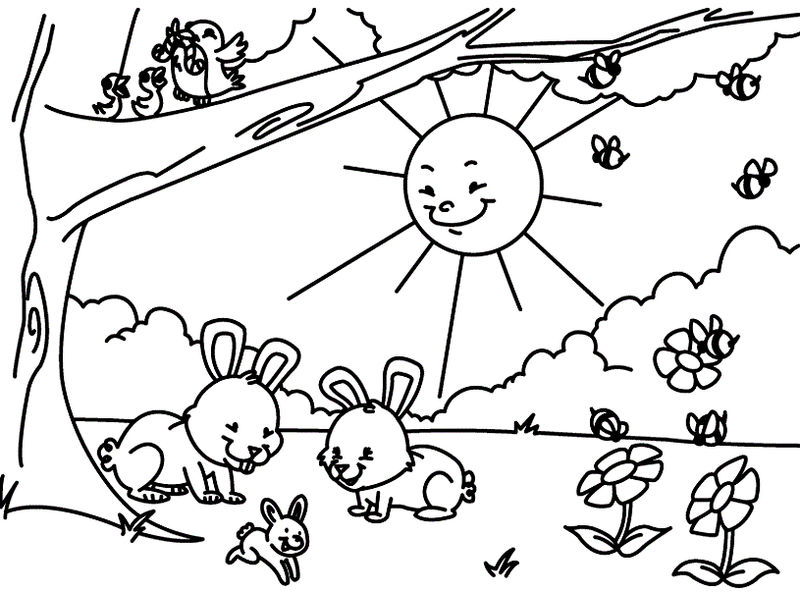Spring bunnies to color
