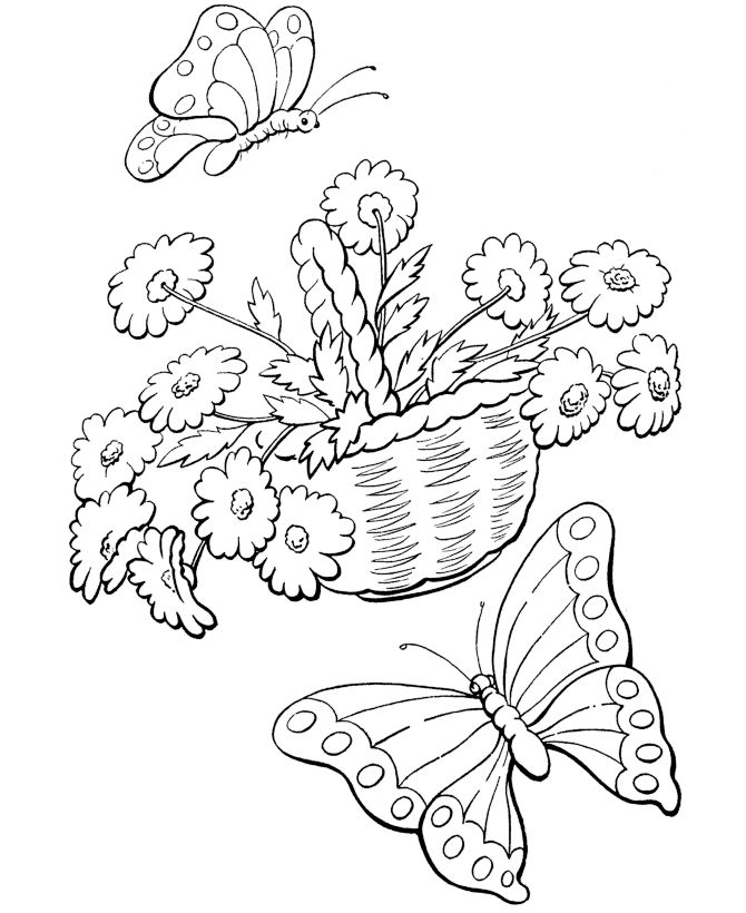 Spring Coloring Pages Butterflies Anf Flowers 001