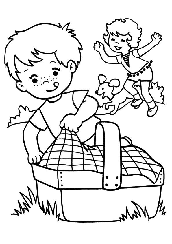 Spring Coloring Pages Picnic 001