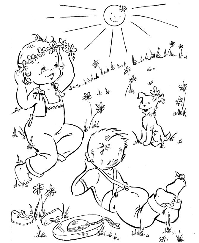 Spring Coloring Pages Sunny Day 001