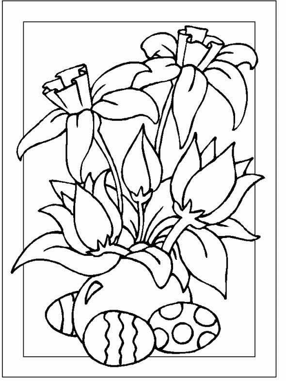 Spring Flowers Religious Easter Coloring Pages Free Coloring Pages