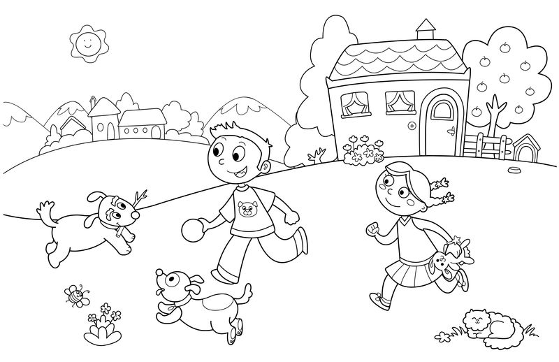 Spring Play Coloring Page