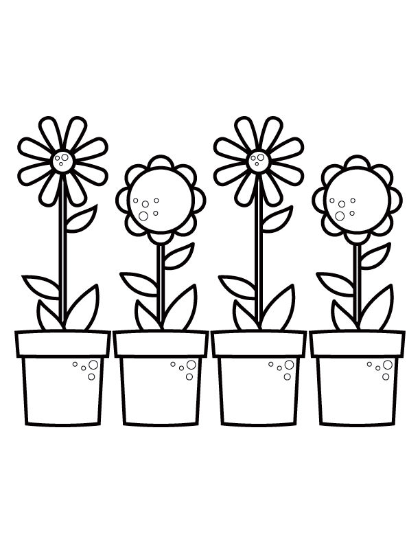 Spring Potted Flowers Coloring Page
