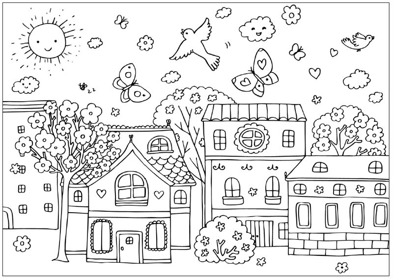 Spring Town Scene Coloring Page