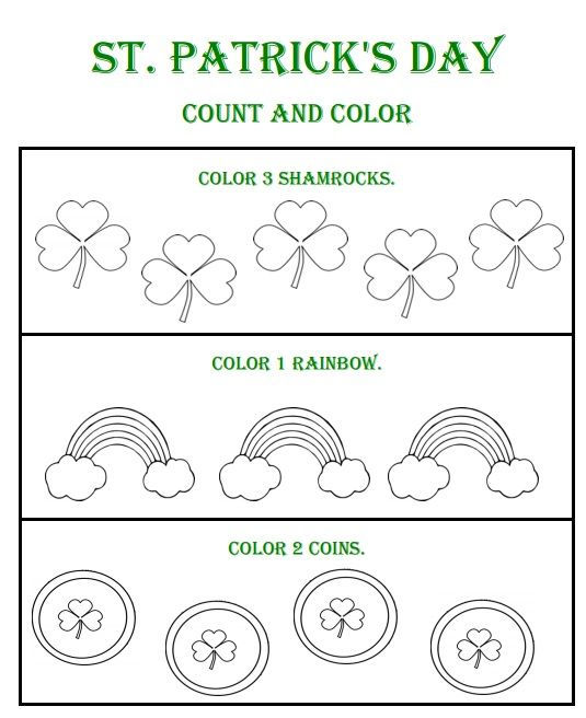 St Patricks Day Count And Color Worksheets 1