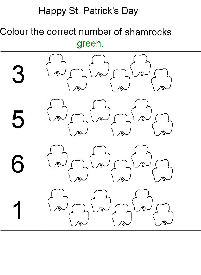 St Patricks Day Number Worksheets