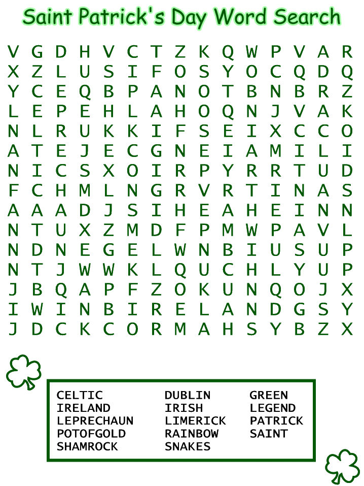 St Patricks Day Word Search Printables 1
