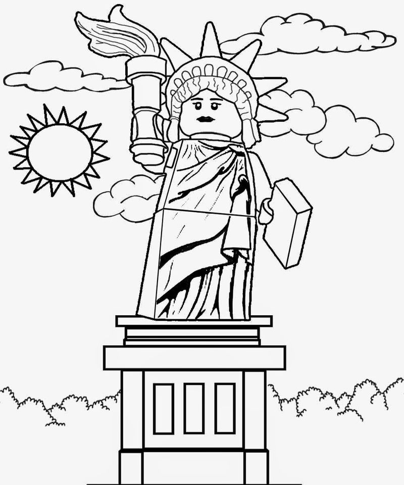 Statue Of Liberty Lego City Coloring Pages 001