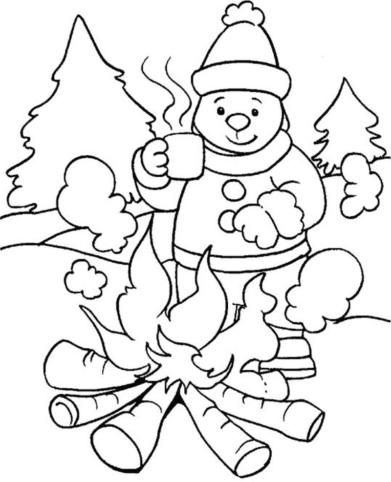 Staying Warm In Winter Coloring Page