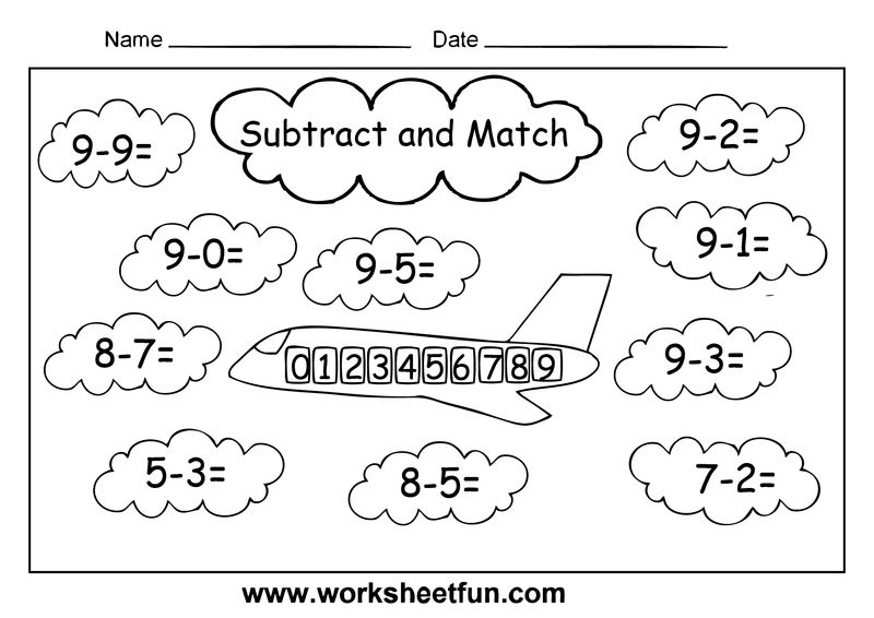 Subtract And Match Worksheets
