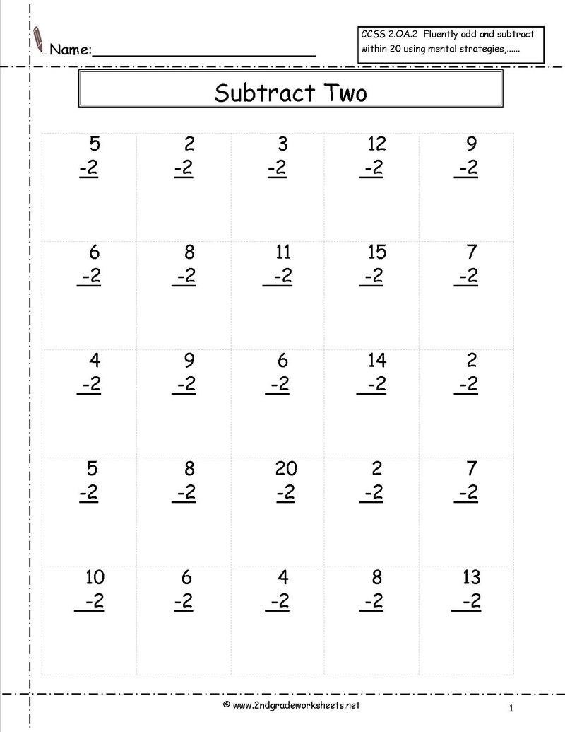 Subtraction Twos Worksheets