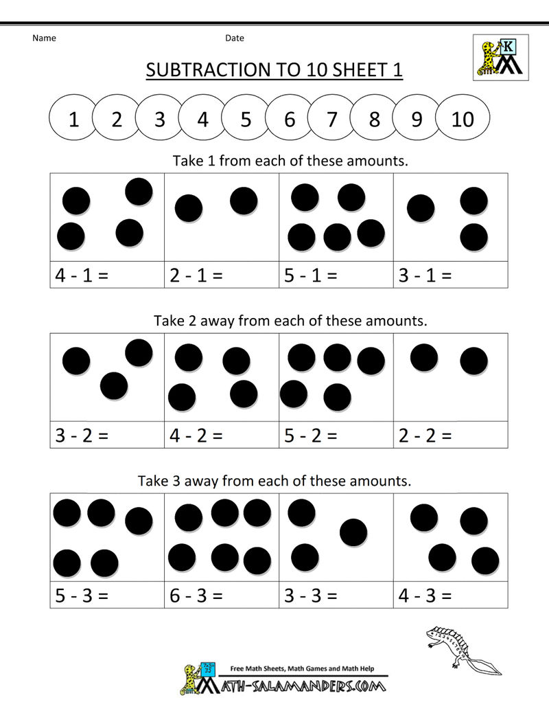Subtraction Worksheet To 10