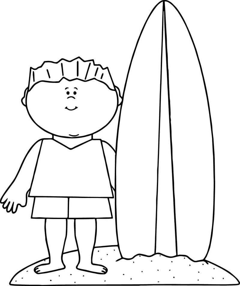 Summer Beach Boy Surfing Coloring Page