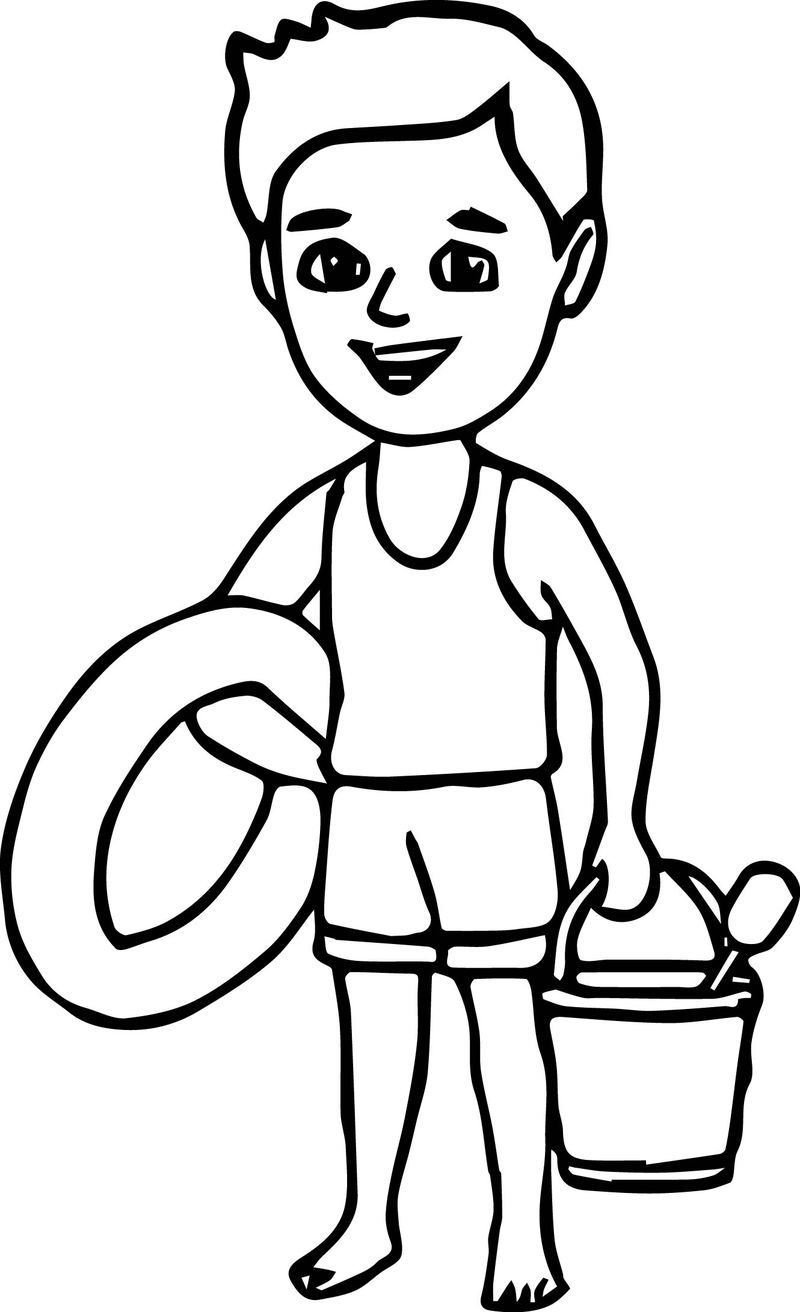 Summer Boy On The Beach Coloring Page