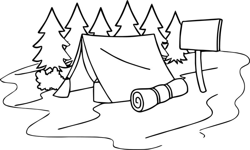 Summer Camp Tent Sleeping Bag Camping Coloring Page