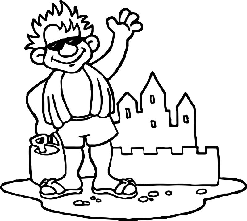Summer Castle Man Coloring Page