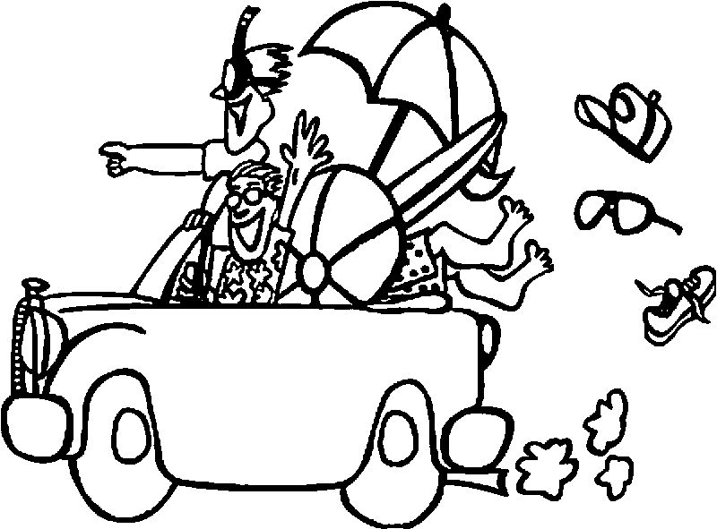 Summer Holiday Going To Car Coloring Page