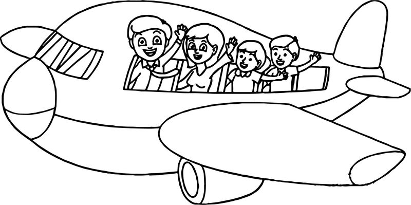 Summer Vacation Plane Coloring Page