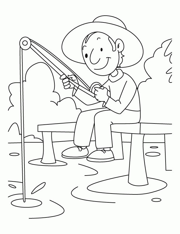 Summertime Fishing Coloring Page 001
